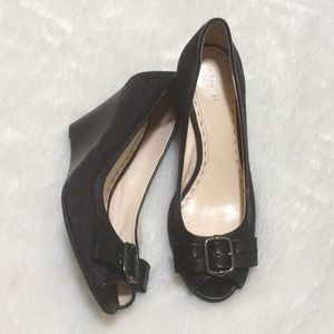 Coach Wedge Black Open Toe Size 8